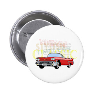 Classic car, old vintage convertible in red 2 inch round button