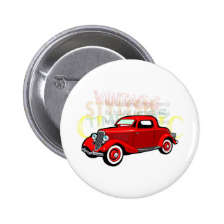 Classic car, old vintage coupe in red 2 inch round button