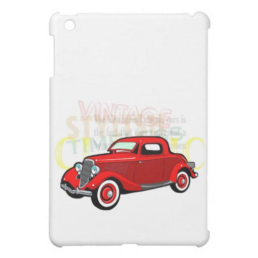 Classic car, old vintage coupe in red cover for the iPad mini