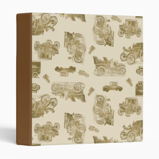 Classic Car Pattern in Shades of Brown Vinyl Binders