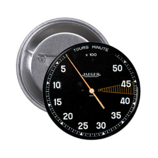 Classic car rev counter, vintage tachometer gauge 2 inch round button