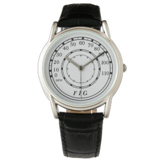 Classic Car Speedometer Monogram Watch