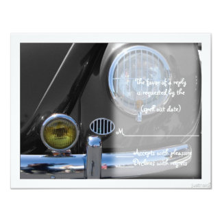 "classic car v rsvp 4.25"" x 5.5"" invitation card"