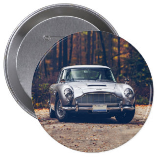 Classic car vintage retro,silver 4 inch round button