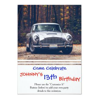 """Classic car vintage retro,silver 5"""" x 7"""" invitation card"""