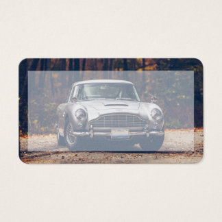 Classic car vintage retro,silver business card