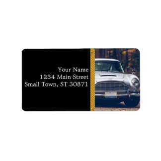 Classic car vintage retro,silver label