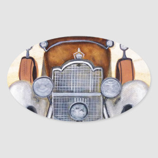Classic car vintage vehicles oval sticker