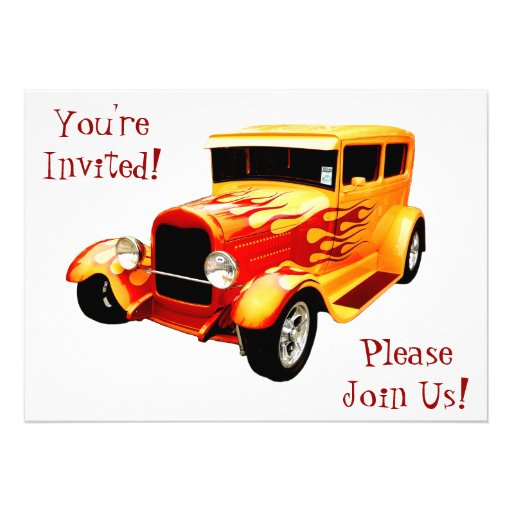 Classic Car with Flames Retirement  Invitation