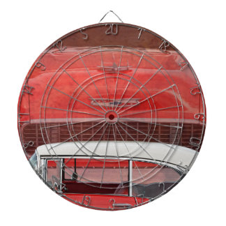 Classic Cars Chevy Bel Air Dodge Red White Vintage Dartboard