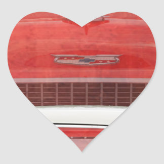 Classic Cars Chevy Bel Air Dodge Red White Vintage Heart Sticker