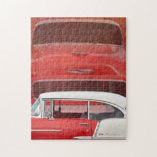 Classic Cars Chevy Bel Air Dodge Red White Vintage Jigsaw Puzzle