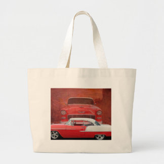 Classic Cars Chevy Bel Air Dodge Red White Vintage Large Tote Bag
