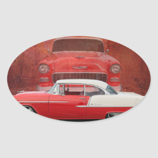 Classic Cars Chevy Bel Air Dodge Red White Vintage Oval Sticker