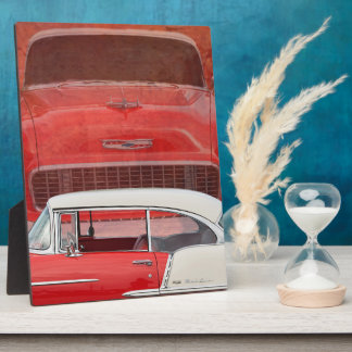 Classic Cars Chevy Bel Air Dodge Red White Vintage Plaque
