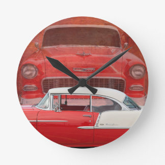 Classic Cars Chevy Bel Air Dodge Red White Vintage Round Clock