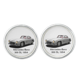 Classic Cars for Round Cufflinks, Silver Plated Cufflinks
