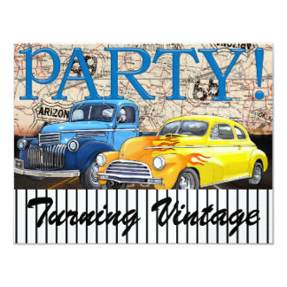 "Classic Cars - Vintage - Route 66 - #3 - SRF 4.25"" X 5.5"" Invitation Card"