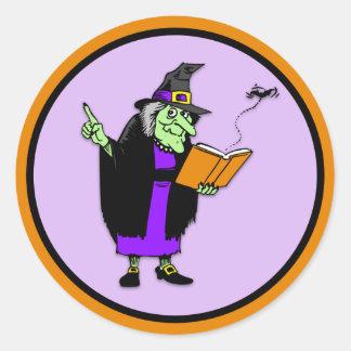 Classic Cartoon Halloween Witch Classic Round Sticker