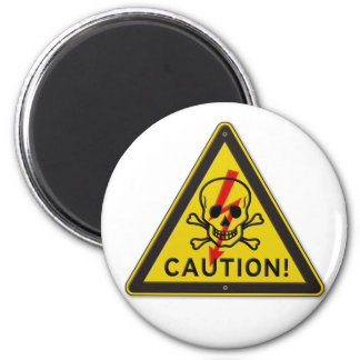 Classic Caution Warning Sign With Skull and Bolt Magnet