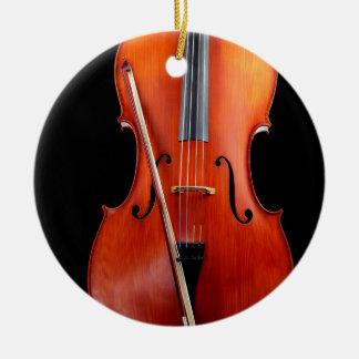 Classic cello on black ceramic ornament