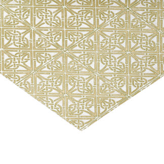 Classic Celtic Knot Wedding Gold & Green pattern Tissue Paper