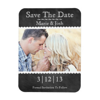 Classic Chalkboard Photo Save The Date Magnet