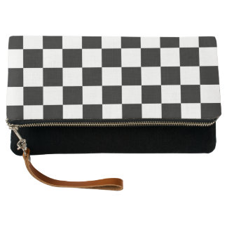 Classic Chequered Racing Check Black White Sport Clutch