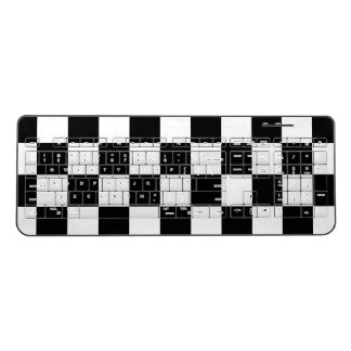Classic Chequered Racing Check Black White Sport Wireless Keyboard