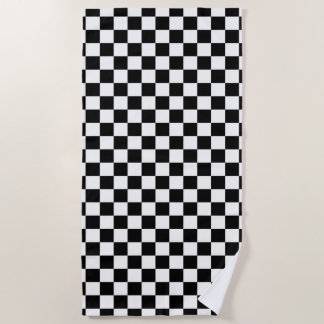 Classic Chequered Racing Sport Check Black White Beach Towel