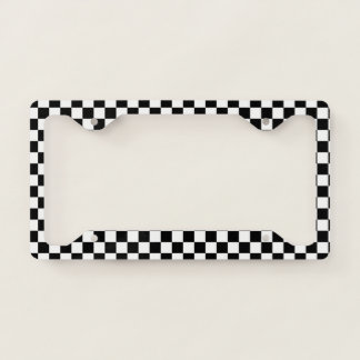 Classic Chequered Racing Sport Check Black White License Plate Frame