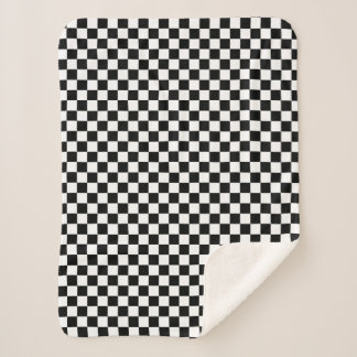Classic Chequered Racing Sport Check Black White Sherpa Blanket