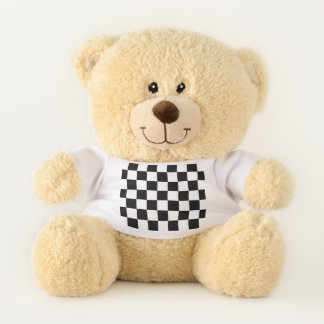 Classic Chequered Racing Sport Check Black White Teddy Bear