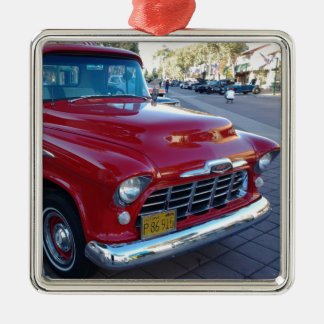 Classic Cherry Red Chevy Pick-Up Truck at Car Show Silver-Colored Square Ornament