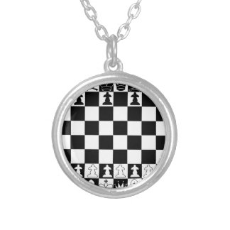 Classic chess board silver plated necklace