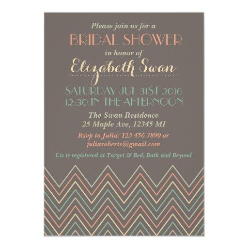 Classic chevron grey bridal shower invitation zazzle for Classic bridal shower invitations