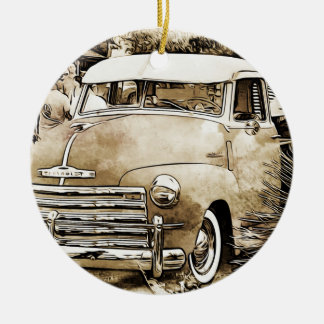 Classic Chevy Chevrolet Truck Round Ceramic Ornament