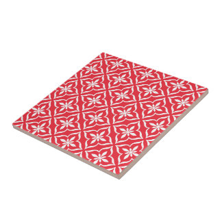 Classic Chic Coral Red Cute Retro Arabic Pattern Tile