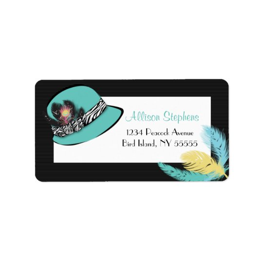 Classic Chic Hat with Feathers Address Label 2