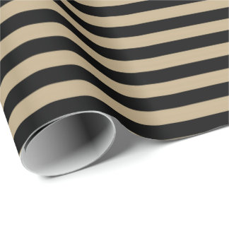 Classic Chocolate Coffe Beige Black Stripes Paris Wrapping Paper