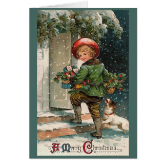 Classic Christmas Delivery Boy Greeting Card