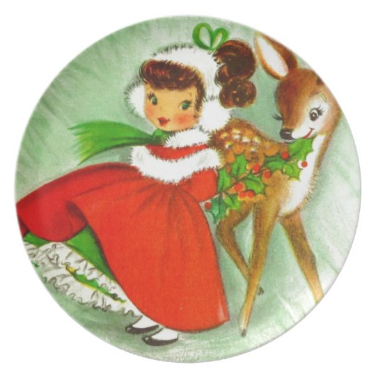 Classic Christmas Little Girl With Reindeer Plate