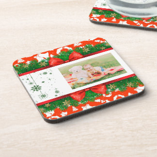 Classic Christmas Photo Ornaments Red Green White Coaster