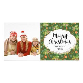 Classic Christmas Pine Decor Christmas Photo Card