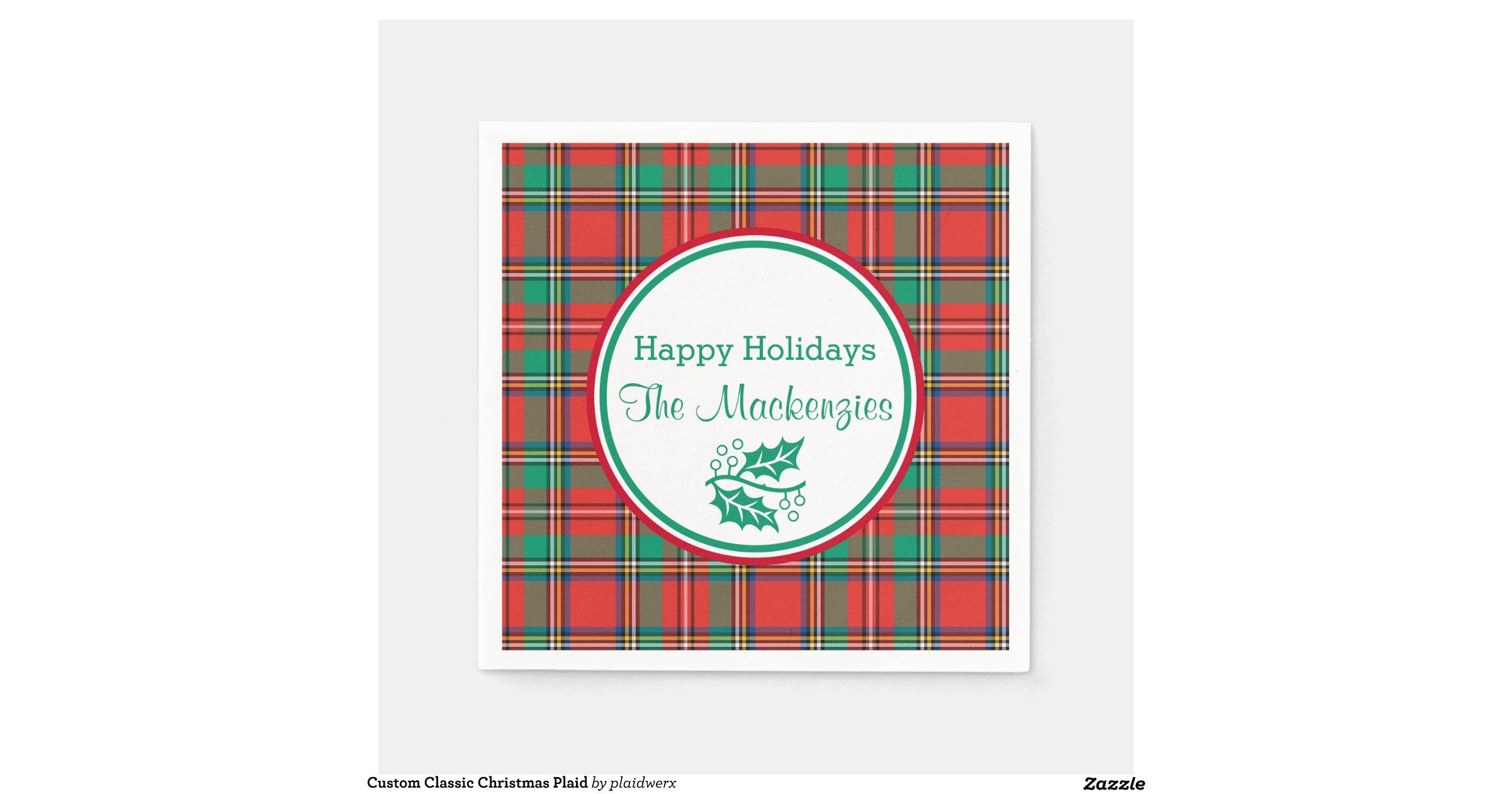 Classic Christmas Plaid Paper Napkins Zazzle