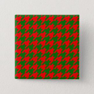 Classic Christmas Red and Green Houndstooth Check 2 Inch Square Button