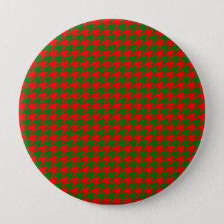 Classic Christmas Red and Green Houndstooth Check 4 Inch Round Button