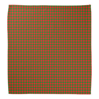 Classic Christmas Red and Green Houndstooth Check Bandana