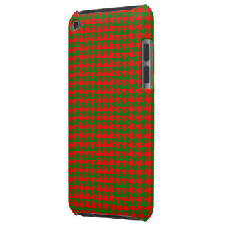 Classic Christmas Red and Green Houndstooth Check Barely There iPod Cases