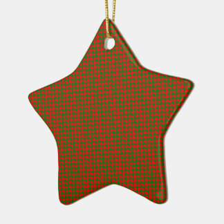 Classic Christmas Red and Green Houndstooth Check Ceramic Ornament